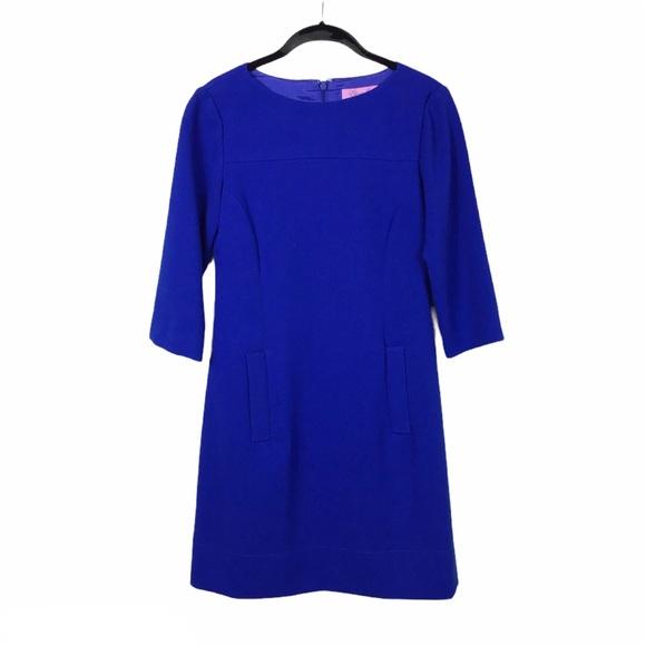 Eliza J Cobalt Blue 3/4 Sleeve Pocket Crepe Dress